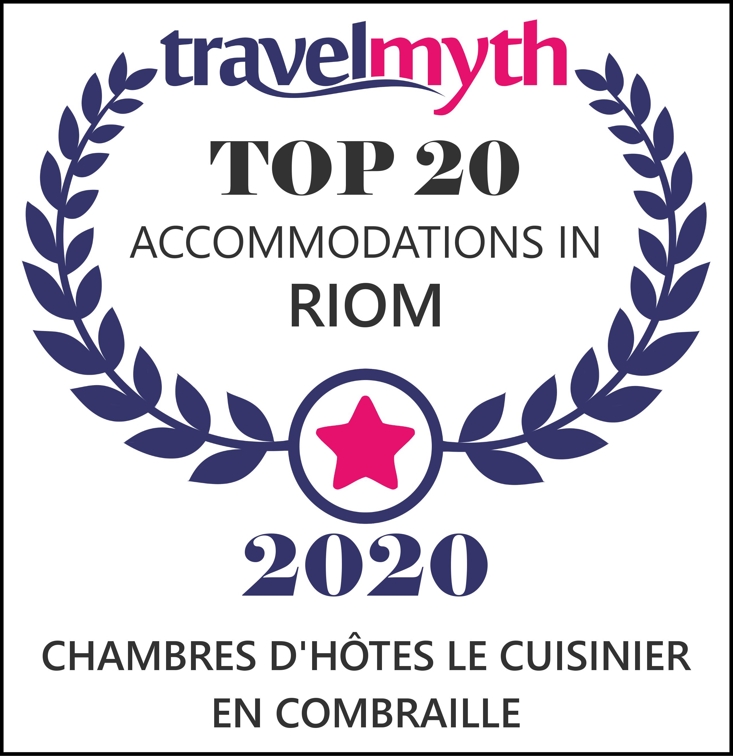 TravelMyth Top 20 Riom Certificate